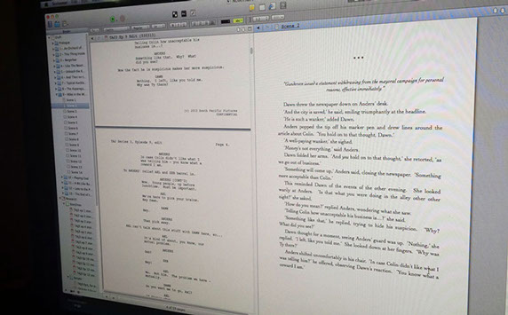 This is a screenshot of Scrivener on my iMac while drafting out the novelisation for series 3 of The Almighty Johnsons.